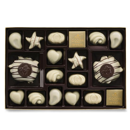 White Chocolate Assortment Gift Box, Gold Ribbon, 22 pc. image number null