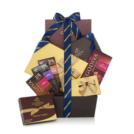 Chocolate Connoisseur Gift Basket - Striped Tie image number null