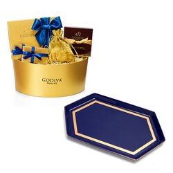 Hanukkah Chocolate Gift Box with Navy Serving Tray