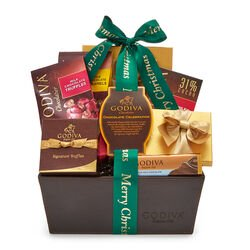 Merry Christmas Chocolate Celebration Basket, Forest Green Ribbon
