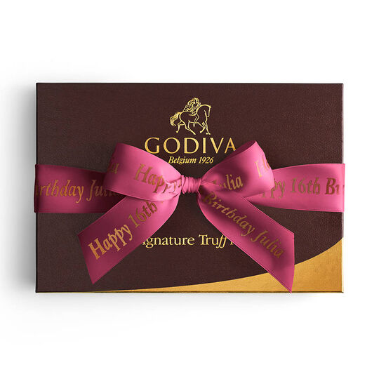 Signature Truffles Gift Box, Personalized Wine Ribbon, 24 pc. image number null