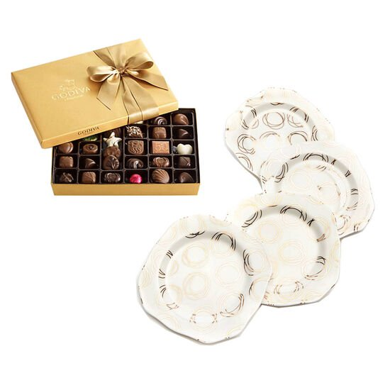Set of 4 Dessert Plates with 36-pc Assorted Chocolate Gold Gift Box image number null