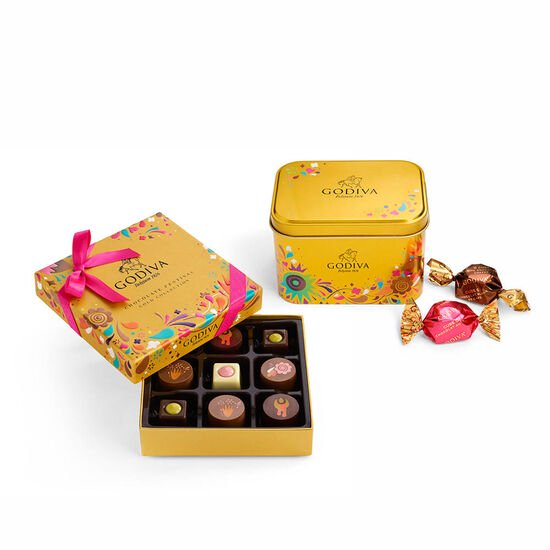 Chocolate Festival Assorted G Cube Tin, 15 pc & Chocolate Festival Gift Box, 9 pc. image number null