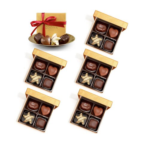 Assorted Chocolate Gold Favor, Red Ribbon, Set of 6, 4 pc. each