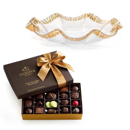 Rufolo Glass Bowl with Dark Chocolate Assortment Gift Box image number null