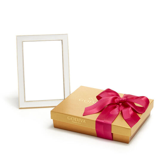 White & Gold Enamel Picture Frame, 4x6 & Assorted Chocolate Spring Gift Box,19 pc. image number null