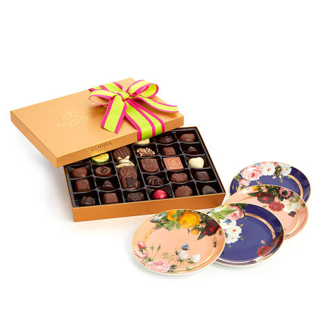 Set of 4 Appetizer Plates with Spring Assorted Chocolate Gift Box, 36 pc.