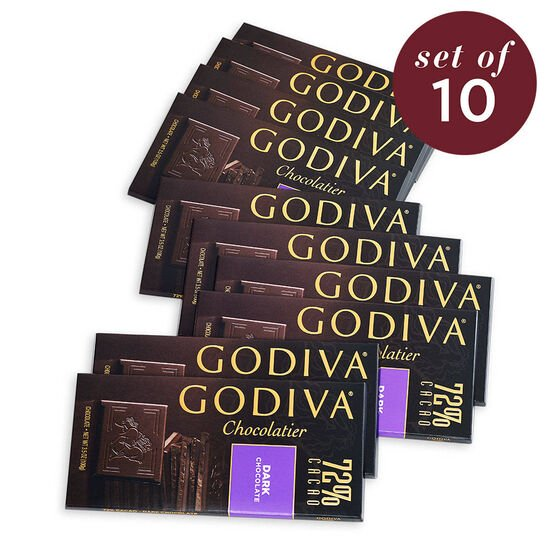 Large 72% Dark Chocolate Bar, Set of 10 image number null