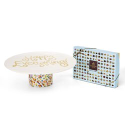 Happy Everything Dessert Pedestal with Patisserie Dessert Truffles Gift Box, 24 pc.
