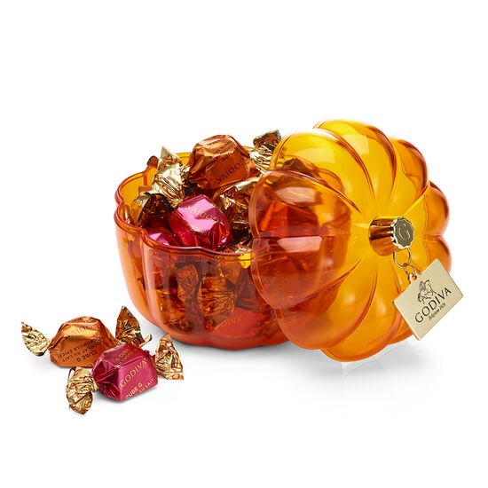 Pumpkin Candy Dish with Assorted G Cubes, Milk Chocolate Maple Walnut and Pumpkin G Cubes image number null