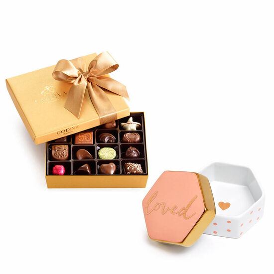 Loved Trinket Box & Assorted Chocolate Gold Gift Box, 19 pc. image number null
