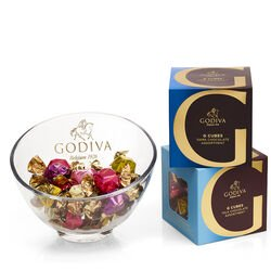 Godiva Chocolate Candy Bowl with Milk Assorted & Dark Assorted G Cube Truffles