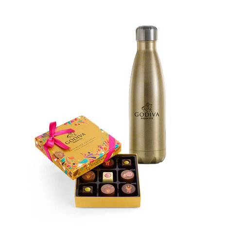 Godiva Water Bottle by S'well® with Chocolate Festival Gold Gift Box, 9 pc.