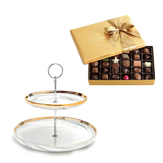 Tiered Marbleized Pedestal with Assorted Chocolate Gift Box, 36 pc. image number null