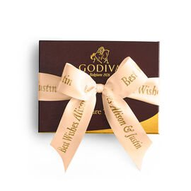 Signature Truffles Gift Box, Personalized Peach Ribbon, 12 pc.