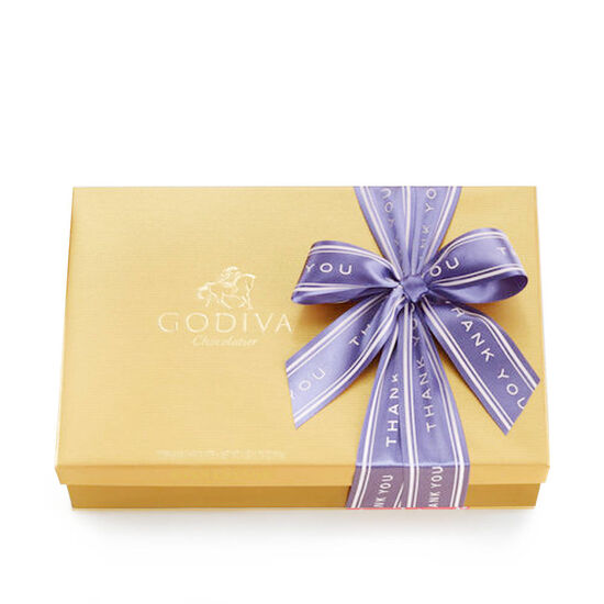 Assorted Chocolate Gold Gift Box, Thank You Ribbon, 70 pc. image number null