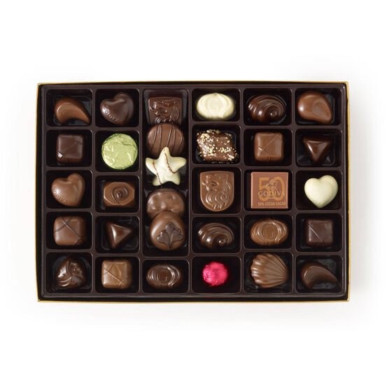 Assorted Chocolate Gold Gift Box, Holiday Ribbon, 70 pc. image number null