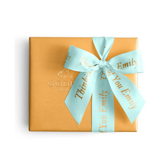 Assorted Chocolate Gold Gift Box, Personalized Aqua Ribbon, 19 pc. image number null