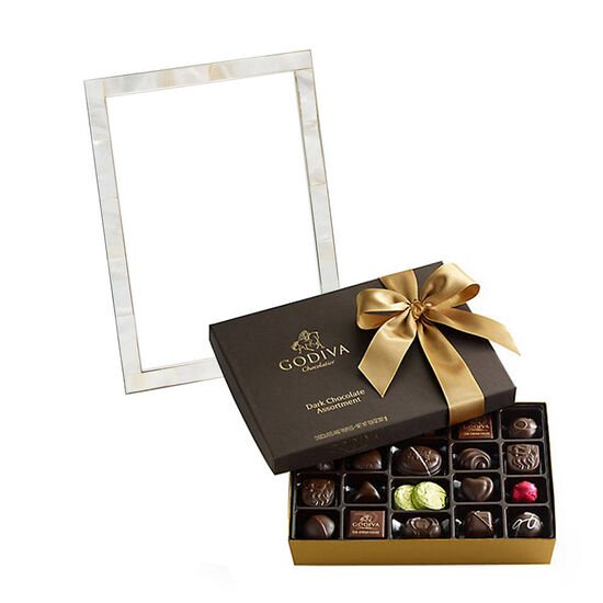 Mother of Pearl Frame with Dark Assorted Chocolates Gift Box, 27 pc. image number null