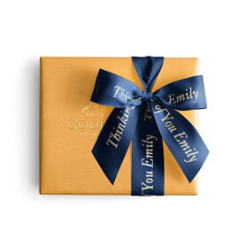 Assorted Chocolate Gold Gift Box, Personalized Navy Ribbon, 19 pc.