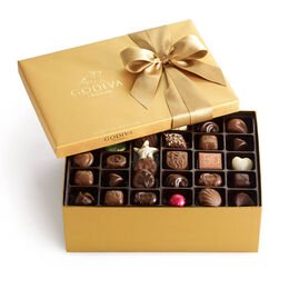 Assorted Chocolate Gold Gift Box, Classic Ribbon, 105 pc.