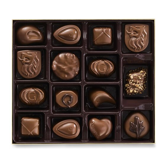 Milk Chocolate Gift Box, Gold Ribbon, 15 pc. image number null