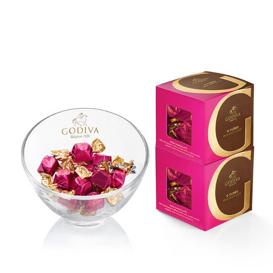 Godiva Chocolate Candy Bowl & Classic Milk Chocolate G Cube Box (Set of 2) image number null