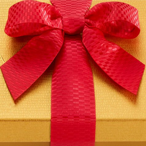 Assorted Holiday Chocolate Gold Gift Box, Red Holiday Ribbon, 8 pc.
