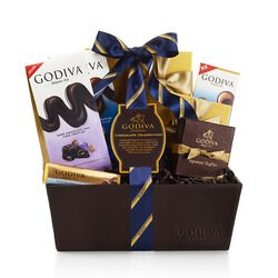 Chocolate Celebration Gift Basket, Striped Tie Ribbon