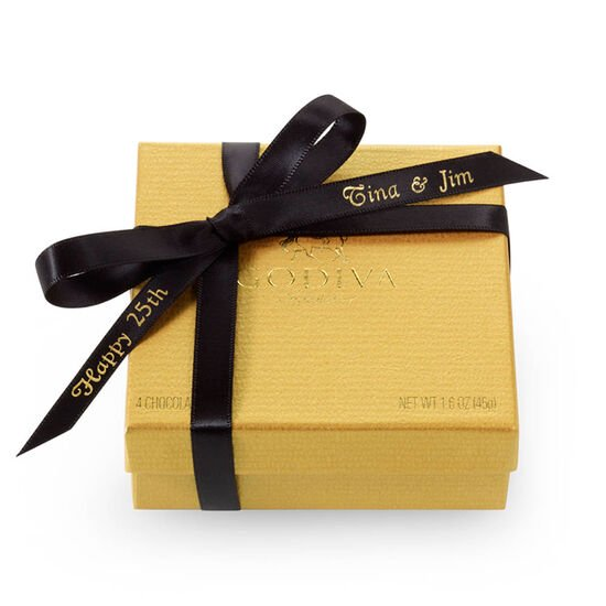 Assorted Chocolate Gold Favor, Personalized Black Ribbon, 4 pc. image number null