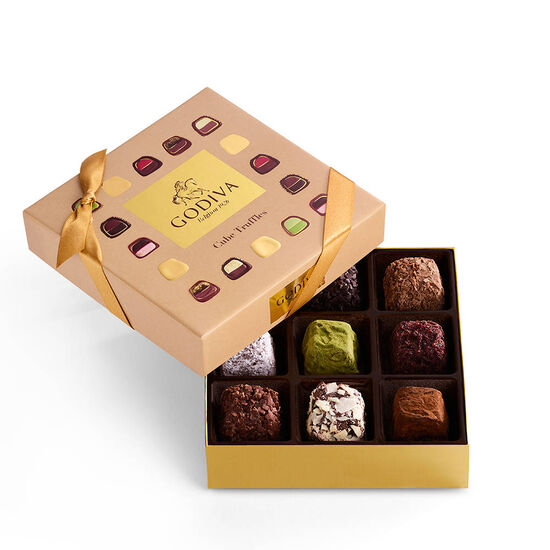 Cube Truffles Gift Box, 9 pc. & Assorted Chocolate Gold Gift Box, 8 pc. image number null