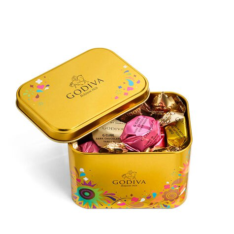 Chocolate Festival Assorted G Cube Filled Tin, 15 pc.