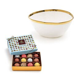Gold Trim Serving Bowl and Patisserie Dessert Truffles Gift Box, 12 pc.