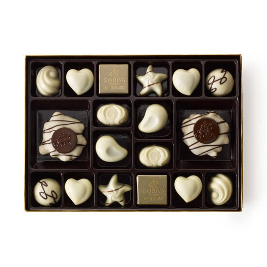 White Chocolate Gift Box, Fall Ribbon, 24 pc. image number null