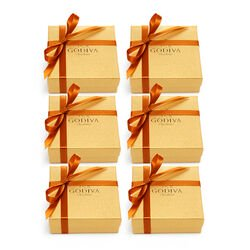 Assorted Chocolate Gold Favor, Orange Ribbon, Set of 6, 4 pc.