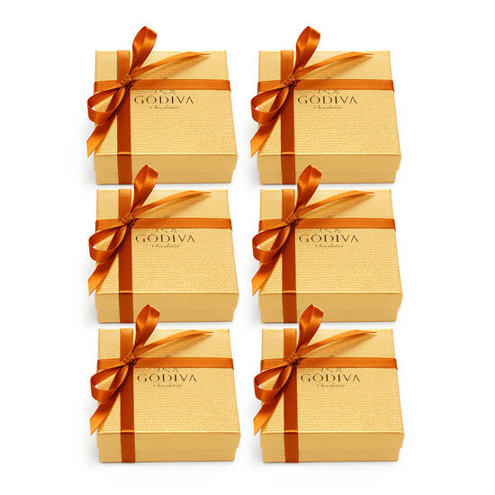 Assorted Chocolate Gold Favor, Orange Ribbon, Set of 6, 4 pc. image number null