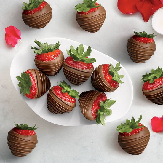 Milk Chocolate Dipped Strawberries, One Dozen image number null