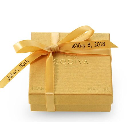 Assorted Chocolate Gold Favor, Personalized Gold Ribbon, 4 pc.