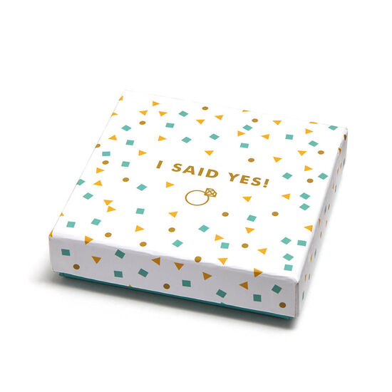 I Said Yes Square Tray & Assorted Chocolate Gold Gift Box, 19 pc. image number null