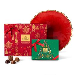 Holiday Platter with Assorted Chocolate Holiday Gift Box, 32 pc. and Holiday Truffle Gift Box, 12 pc.