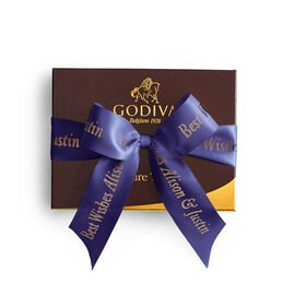 Signature Chocolate Truffle Gift Box, Personalized Purple Ribbon, 12 pc.