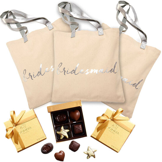 Bridesmaid Tote Bag with Assorted Chocolate Gold Favor, 4 pc., Set of 3 image number null