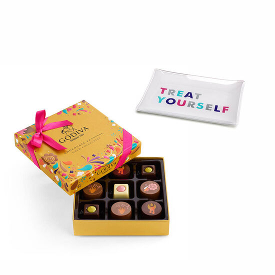 Treat Yourself Tray with Chocolate Festival Gold Gift Box, 9 pc. image number null