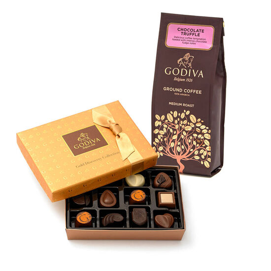 Godiva Chocolatier 12pc. Gold Discovery Box & Chocolate Coffee Gift Set image number null