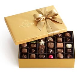 Assorted Chocolate Gold Gift Box, Classic Ribbon, 70 pc.