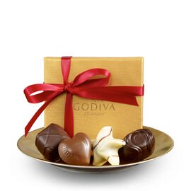 Assorted Chocolate Gold Favor, Red Ribbon, 4 pc