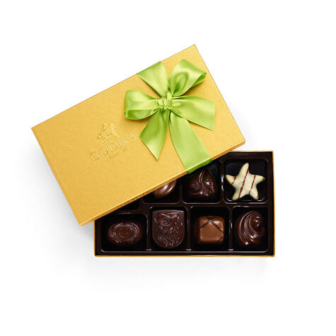 Assorted Chocolate Gold Gift Box, Light Green Ribbon, 8 pc.