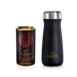 Godiva Traveler Bottle by S'well® with Peppermint Dark Chocolate Hot Cocoa Canister