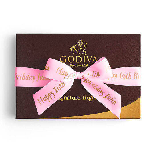 Signature Truffles Gift Box, Personalized Hot Pink Ribbon, 24 pc. image number null