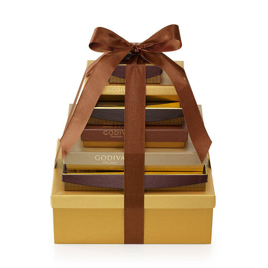 7-Tier Ultimate Chocolate Gift Tower, Brown Ribbon image number null